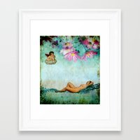 swimming Framed Art Prints featuring swimming by Rosa Picnic