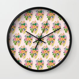 Colourful Florals on Blush Wall Clock