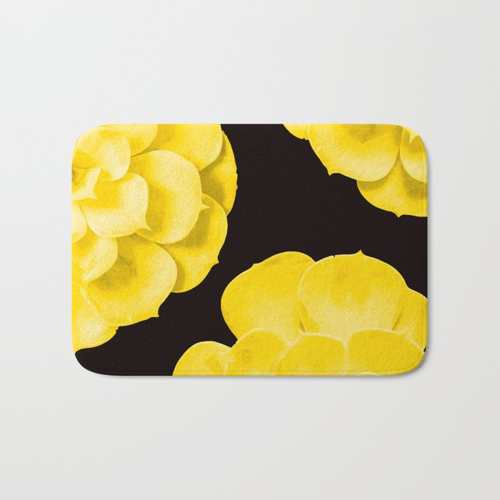 Large Yellow Succulent On Black Background #decor #society6 #buyart Bath Mat