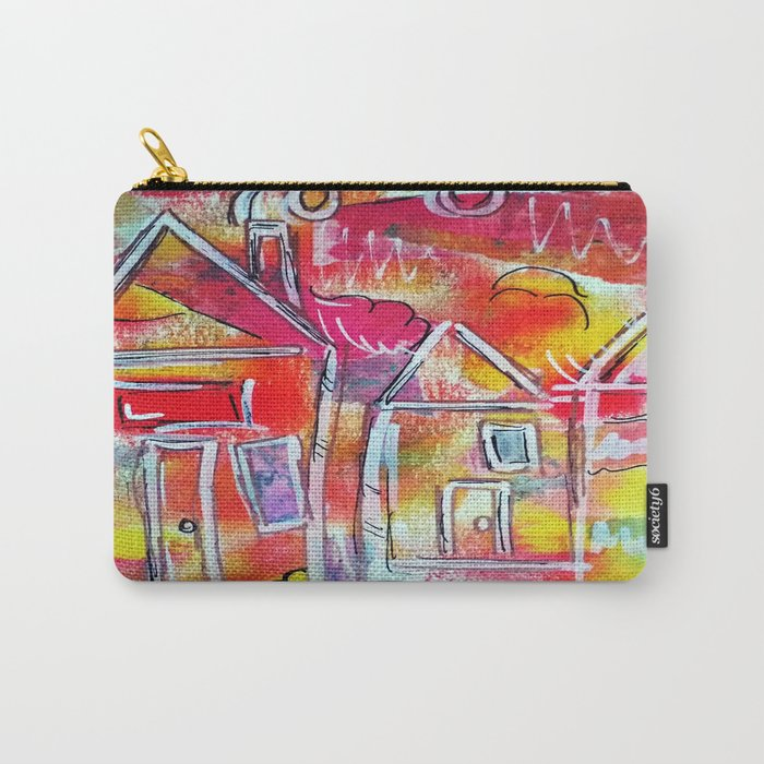 Orange Neon Houses Carry-All Pouch
