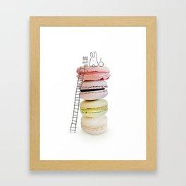 Bunny & macarons Framed Art Print