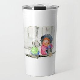 Girl and her dog   Watercolor illustration Travel Mug