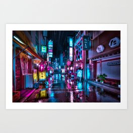 Cyberpunk Aesthetic in Tokyo at Night Art Print