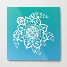 Mandala Turtle Pattern Teal Metal Print