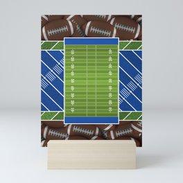 Blue Football Field and Footballs Mini Art Print