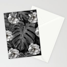 Flowers and leaves black and white Stationery Cards