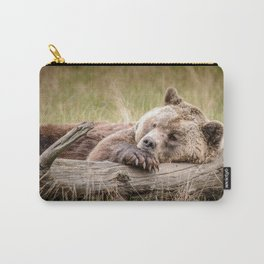 Big Beautiful Grizzly Bear Relaxing In Green Meadow Close Up Ultra HD Carry-All Pouch