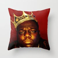 biggie smalls Throw Pillows featuring Biggie by I Love Decor