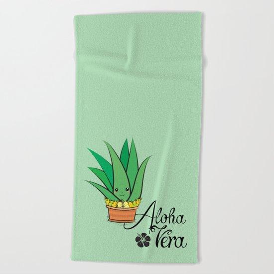 Aloha Vera Kawaii Beach Towel