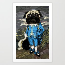 Pug Blueboy Art Print
