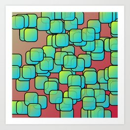 Emerald colored squares Art Print