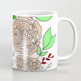 Coral + Mint // Floral Pattern Coffee Mug