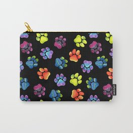 Black Rainbow Paw Print Pattern Carry-All Pouch