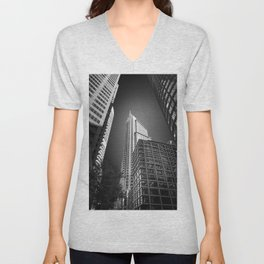 Sydney City Towers - Upwards perspective in black and white. Unisex V-Neck