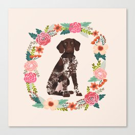 german shorthair pointer floral wreath spring dog breed pet portrait gifts Canvas Print