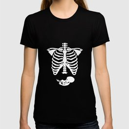 Pregnant Skeleton Ribs Bones Halloween Pregnancy Costume Funny Juniors Skeleton t-shirts T-shirt