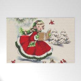 Vintage Christmas Girl Welcome Mat
