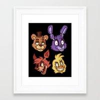 fnaf Framed Art Prints featuring FNAF Five Nights At Freddy's by Kam-Fox