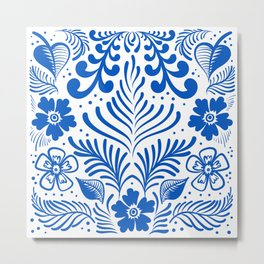 Mexican Folk Floral Ornaments Metal Print