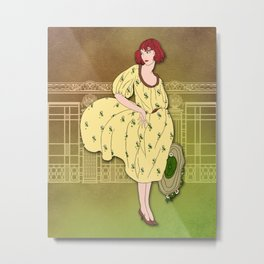 AUDREY: Art Deco Lady in Yellow and Olive Metal Print