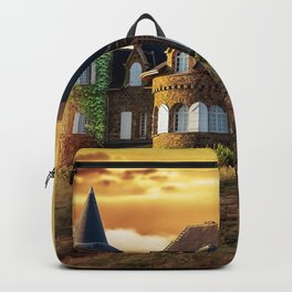 Gorgeous Fantasy Mansion In Coutryside Water Well Owl Ultra HD Backpack