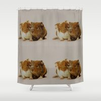 guinea pig Shower Curtains featuring Guinea pigs by Guna Andersone & Mario Raats - G&M Studi
