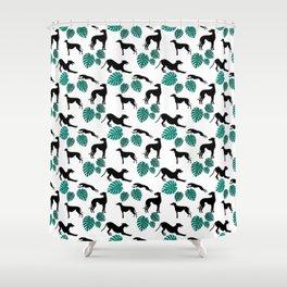 Greyt Greyhound Monstera on White Shower Curtain