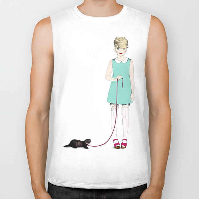 The girl with the ferret Biker Tank