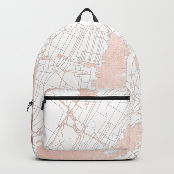 New York City White on Rosegold Street Map Backpack