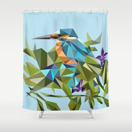 Common Kingfisher (halcyon) in Triangles Shower Curtain
