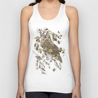 botanical Tank Tops featuring Great Horned Owl by Teagan White