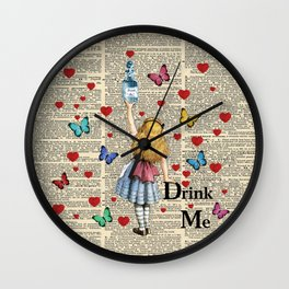 Drink Me - Vintage Dictionary Page - Alice In Wonderland Wall Clock