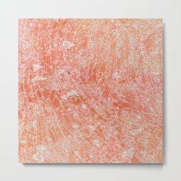 Peach and Gold Metallic Marble Texture Metal Print