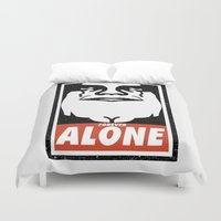 obey Duvet Covers featuring Obey Alone  by Daniac Design