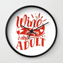 Wine - Wine Helps Me Adult - Gift For Wine Lovers Wall Clock