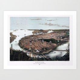 1877 Boston, Massachusetts Bird's Eye View Panorama City View Art Print