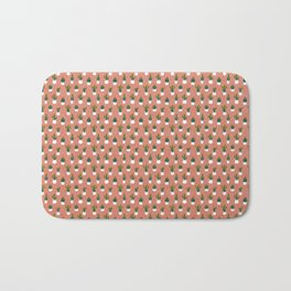 Triangle Pattern Coral Background with Turquoise Cactus Pots Bath Mat