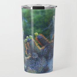 Cactus On Rocks After Sunset Illuminated By Blue Moon Travel Mug