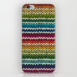 Rainbow knitted stripes iPhone Skin