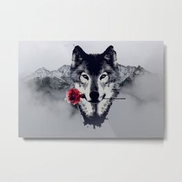 The Wolf With a Rose & Mountains Metal Print