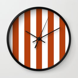 Rust brown - solid color - white vertical lines pattern Wall Clock