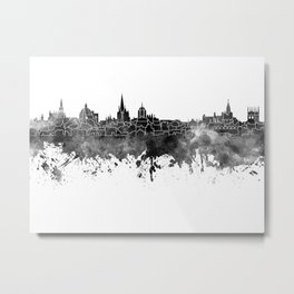 Oxford skyline in black watercolor Metal Print