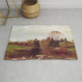 Spring A Study On The Bronx At Mt Vernon 1873 By David Johnson | Reproduction | Romanticism Landscap Rug