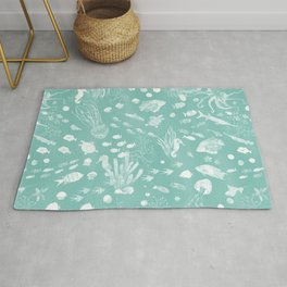Watercolor Seascape in Light Green Rug