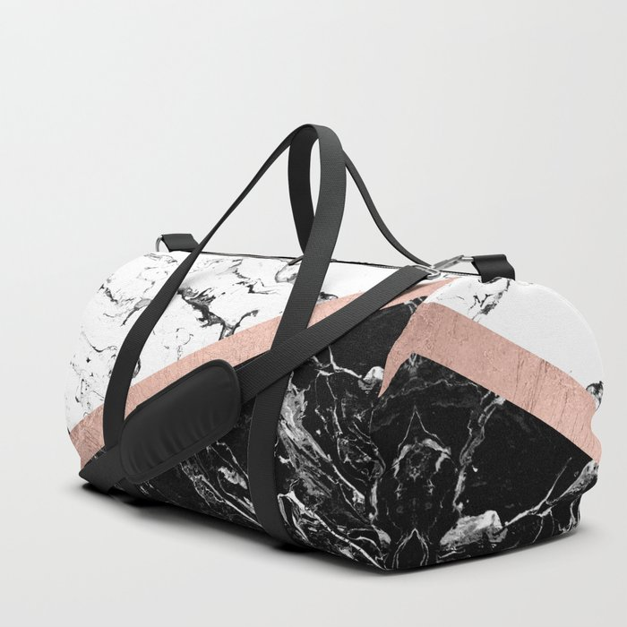 Modern black white marble color block rose gold Duffle Bag