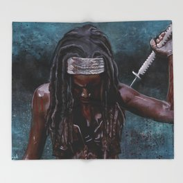 Michonne And Her Sword - The Walking Dead Throw Blanket