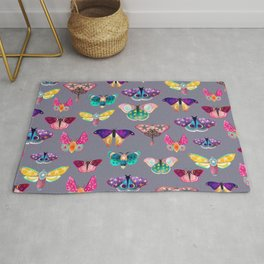 Butterflies and Moths on Grey Rug