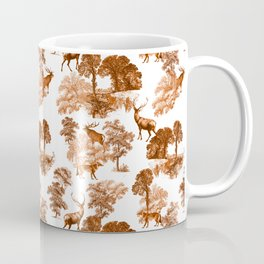 Classic Brown French Toile Autumn Countryside Deer Pattern Coffee Mug