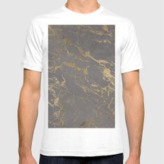 Modern Grey cement concrete gold marble pattern Mens Fitted Tee White MEDIUM