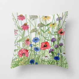 Watercolor of Garden Flower Medley Throw Pillow